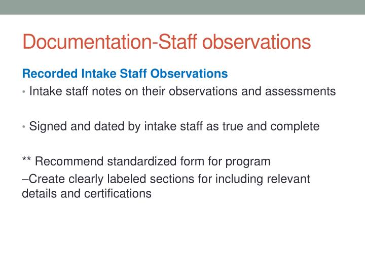 Documentation-Staff observations
