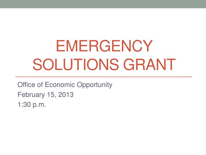 Emergency Solutions Grant