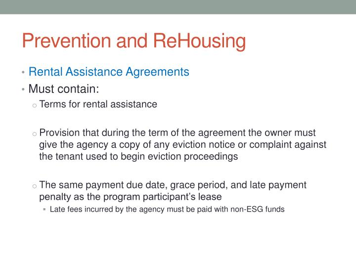 Prevention and ReHousing