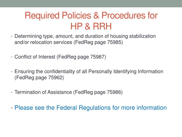 Required Policies & Procedures for