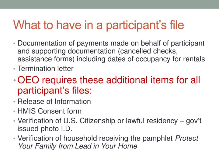 What to have in a participant's file
