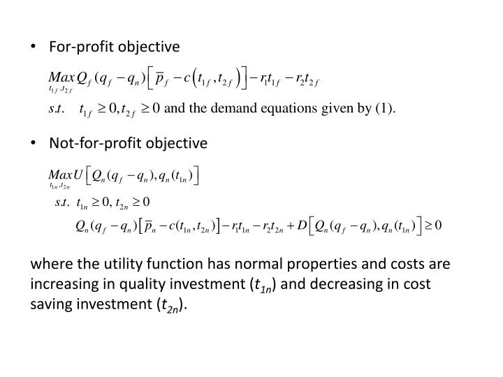For-profit objective