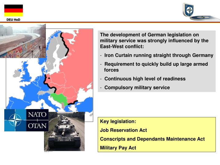 The development of German legislation on military service was strongly influenced by the East-West conflict: