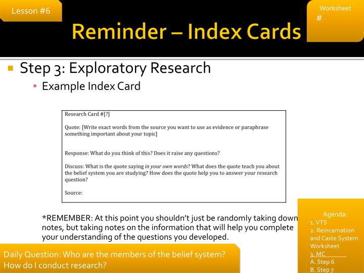 Reminder – Index Cards