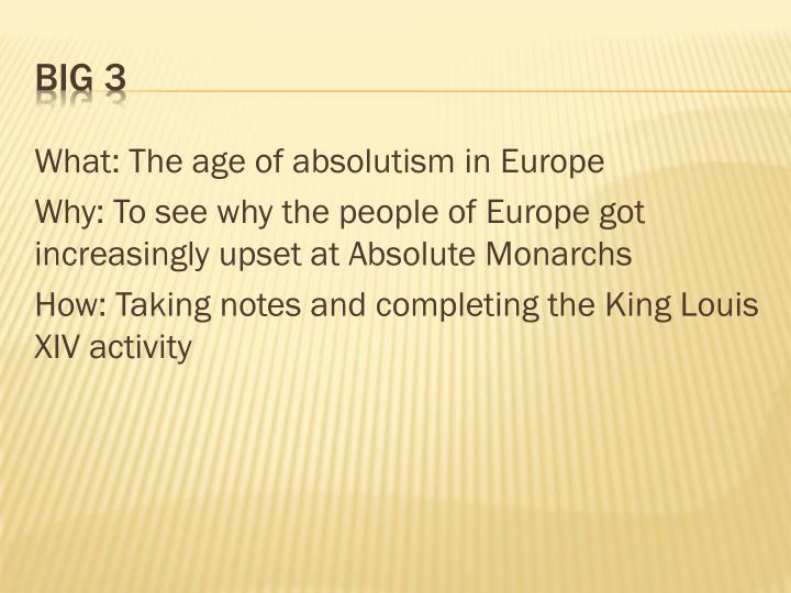 What: The age of absolutism in Europe