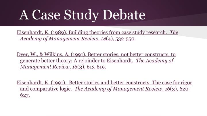 A Case Study Debate