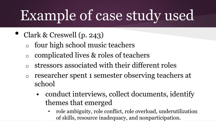 Example of case study used