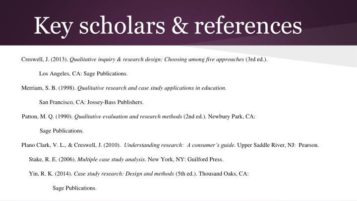 Key scholars & references