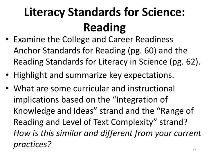 Literacy Standards for Science: Reading
