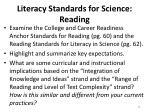 literacy standards for science reading