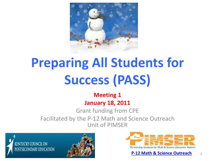 Preparing all students for success pass