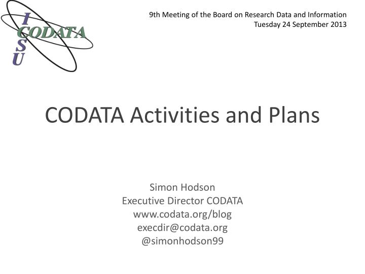Codata activities and plans