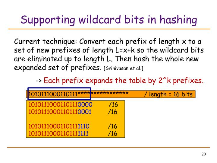 Supporting wildcard bits in hashing