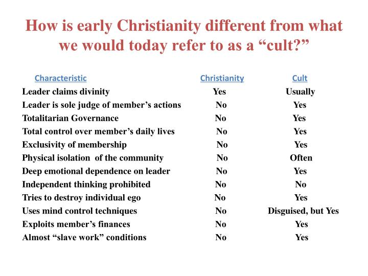 "How is early Christianity different from what we would today refer to as a ""cult?"""