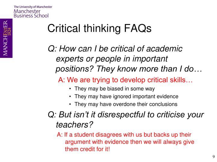 Critical thinking FAQs