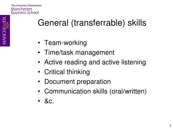 General (transferrable) skills