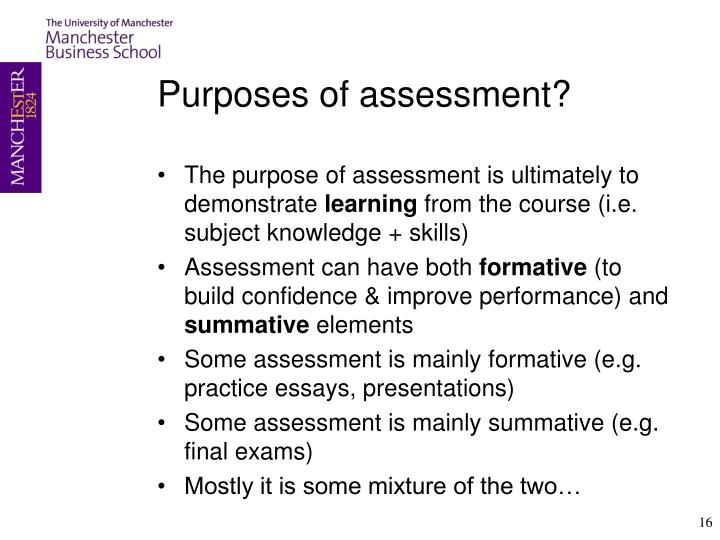 Purposes of assessment?