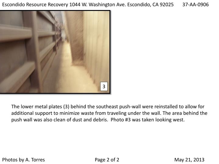 Escondido Resource Recovery 1044 W. Washington Ave. Escondido, CA 92025    37-AA-0906