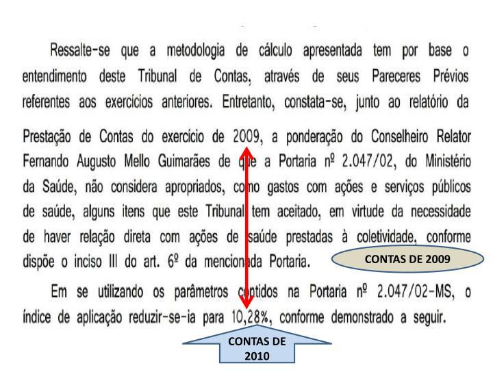CONTAS DE 2009