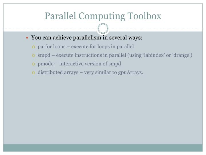 Parallel Computing Toolbox