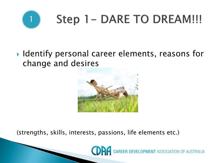 Step 1- DARE TO DREAM!!!