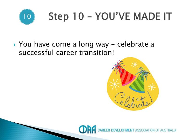 Step 10 – YOU'VE MADE IT