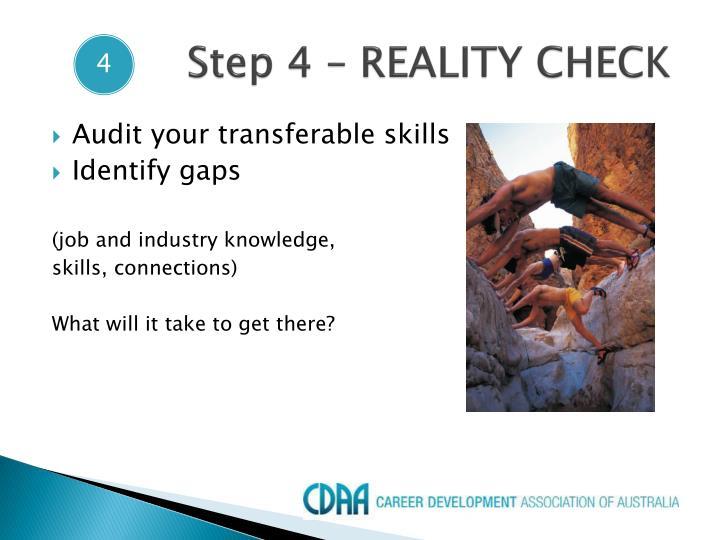Step 4 – REALITY CHECK
