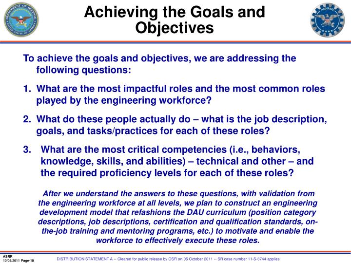 Achieving the Goals and Objectives