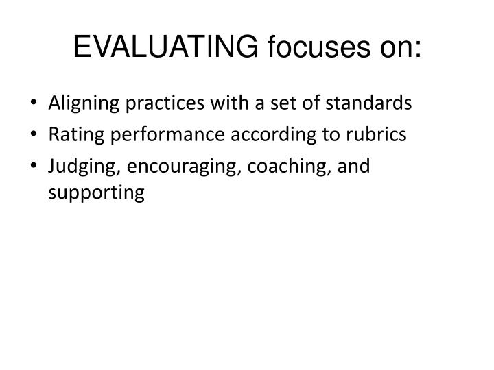 EVALUATING focuses on: