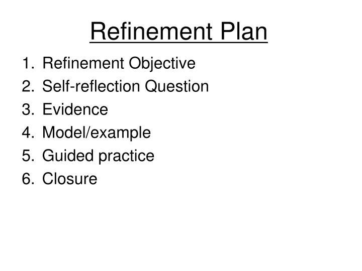 Refinement Plan
