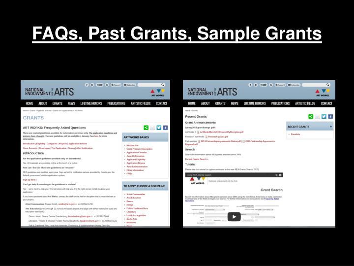 FAQs, Past Grants, Sample Grants