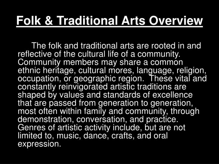 Folk & Traditional Arts Overview