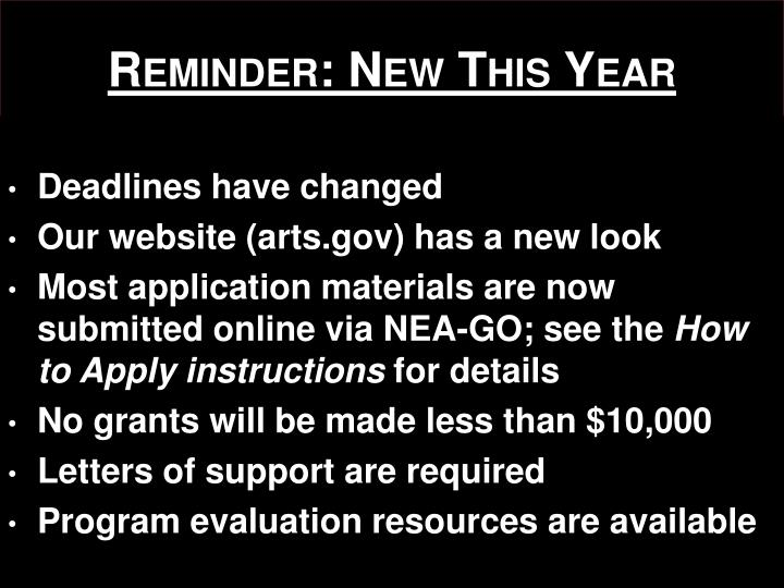 Reminder: New This Year