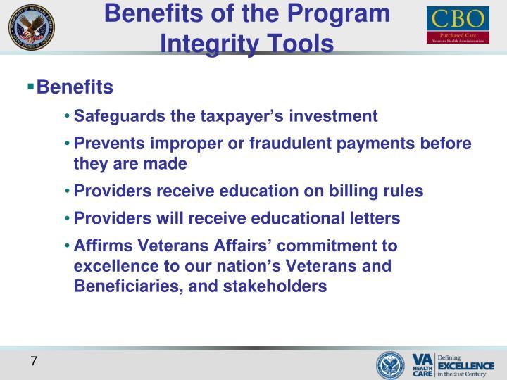 Benefits of the Program Integrity Tools