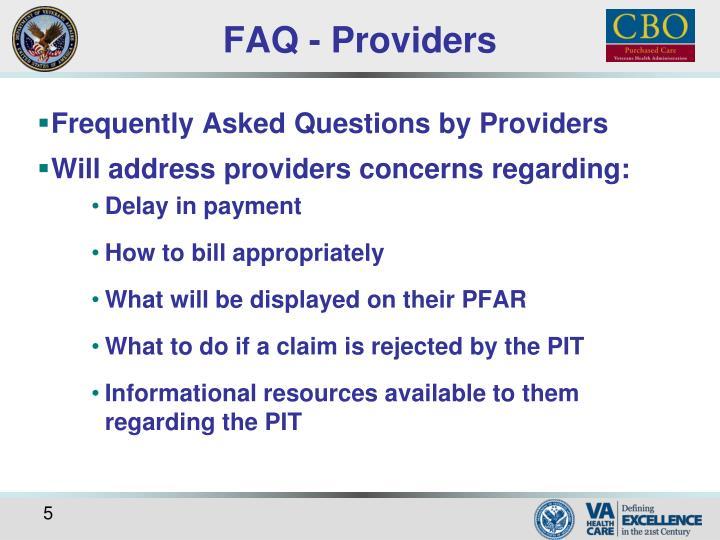 FAQ - Providers