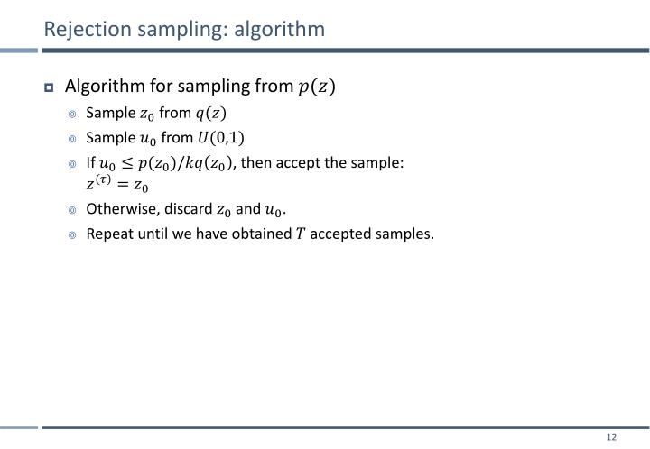 Rejection sampling: algorithm