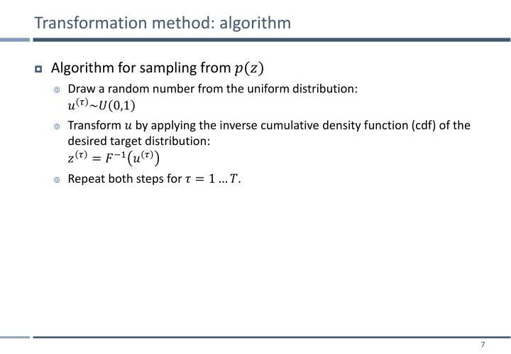 Transformation method: algorithm