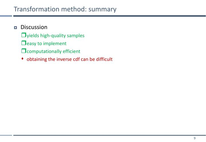 Transformation method: summary