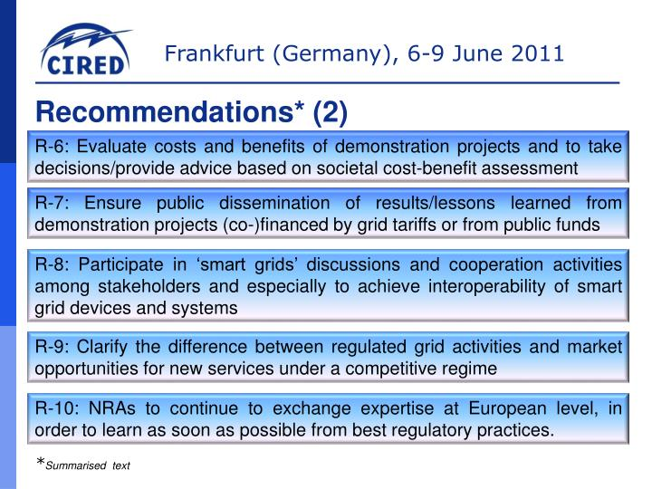 Recommendations* (2)