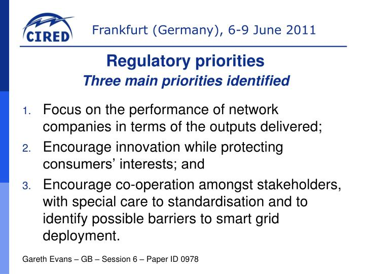 Regulatory priorities