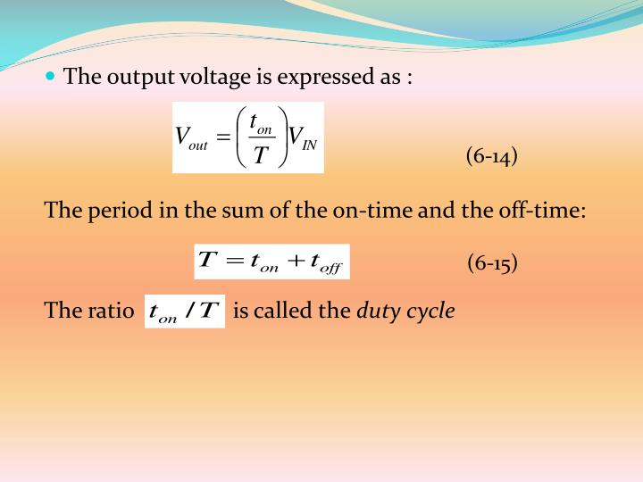 The output voltage is expressed as :