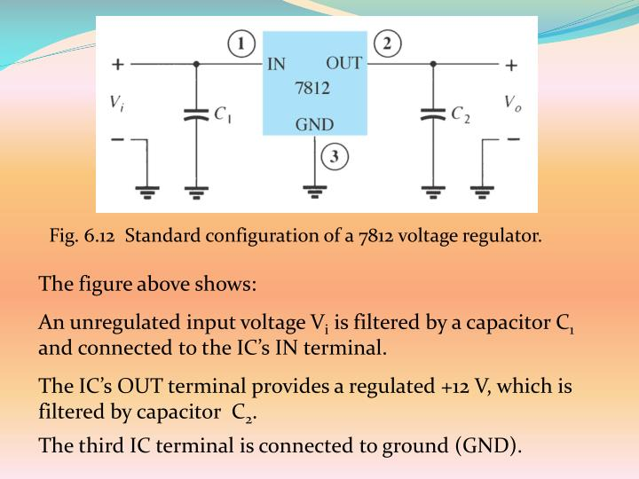 Fig. 6.12  Standard configuration of a 7812 voltage regulator.