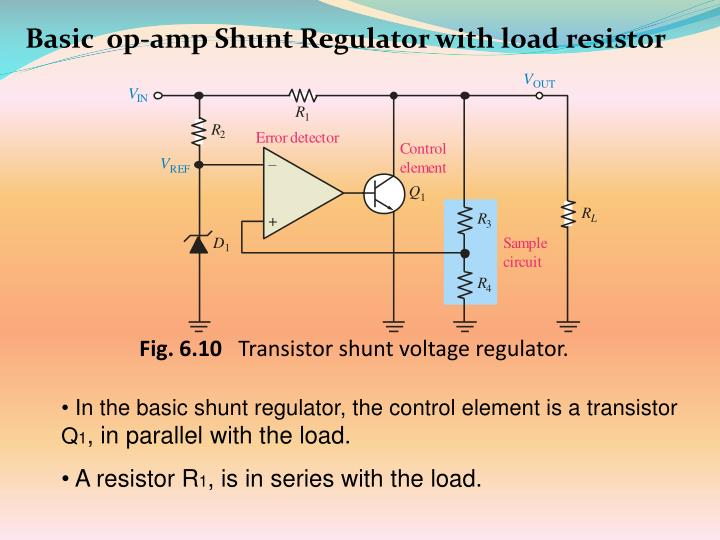 Basic  op-amp Shunt Regulator with load resistor