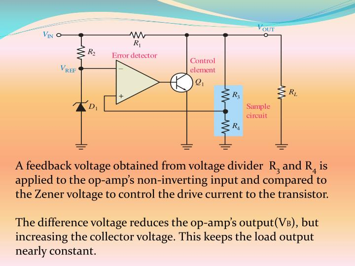 A feedback voltage obtained from voltage divider  R