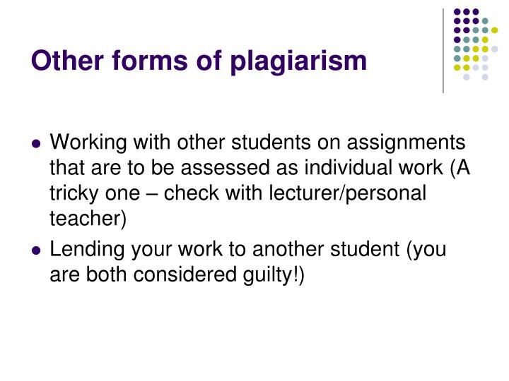 Other forms of plagiarism