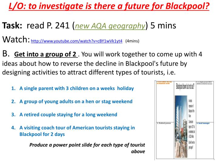 L/O: to investigate is there a future for Blackpool?