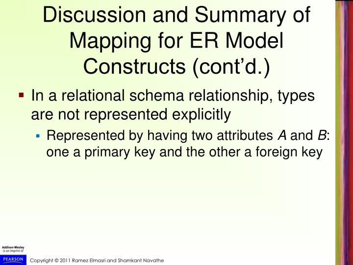 Discussion and Summary of Mapping for ER Model Constructs (cont'd.)