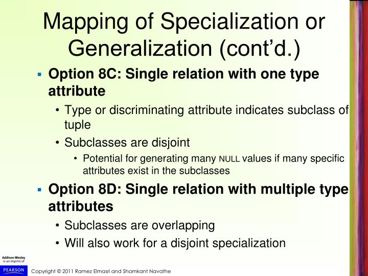 Mapping of Specialization or Generalization (cont'd.)