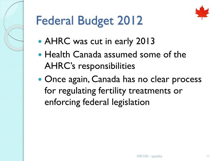 Federal Budget 2012