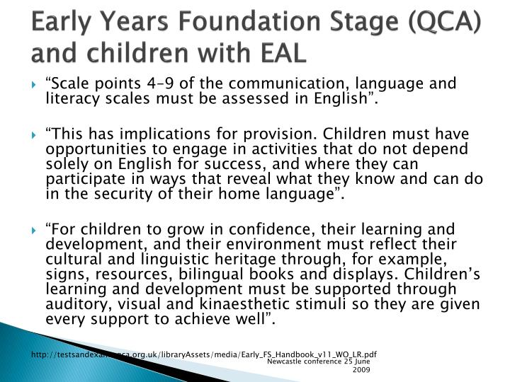 Early Years Foundation Stage (QCA) and children with EAL
